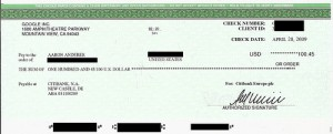 Adsense first cheque